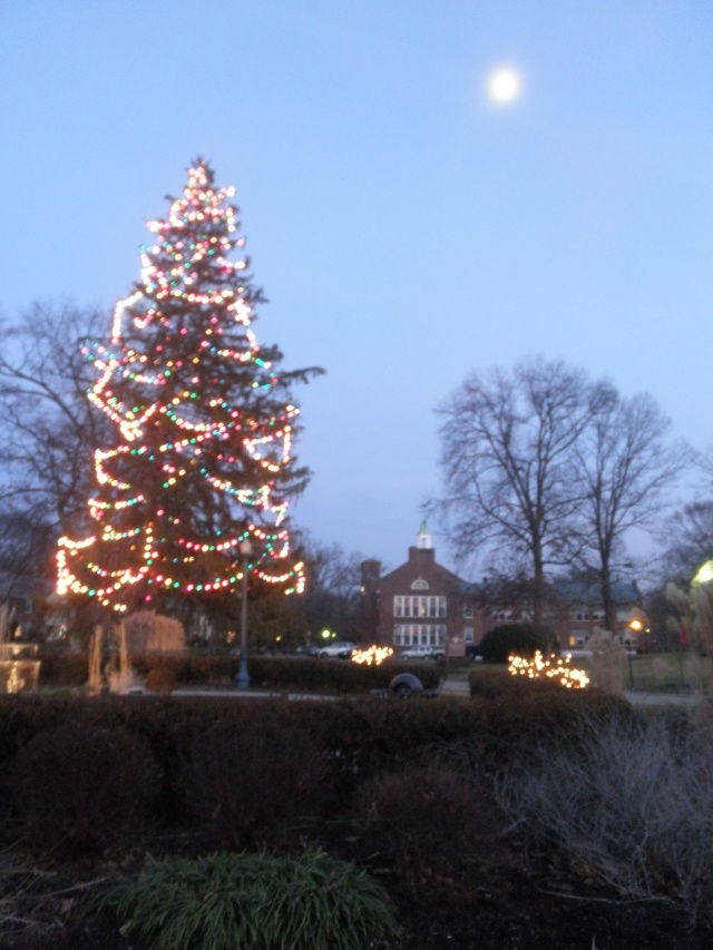 Old town square and village Christmas tree