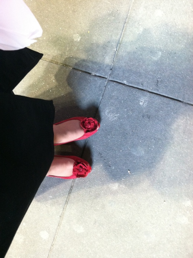 red shoes in times square