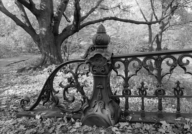 Detail of end of bridge railing and railing post, HAER, NY,31-NEYO,153D-4 Central Park Bridges, Bridge No. 27, Central Park, Southwest of Reservoir, New York City, New York County, NY. Date1984