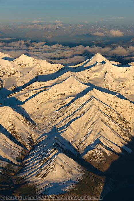 Fresh snow, Scott peak aerial, Alaska range