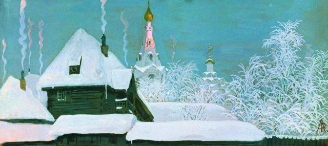 Landscape - Painting - Winter scene, snowy rooftops, Russian